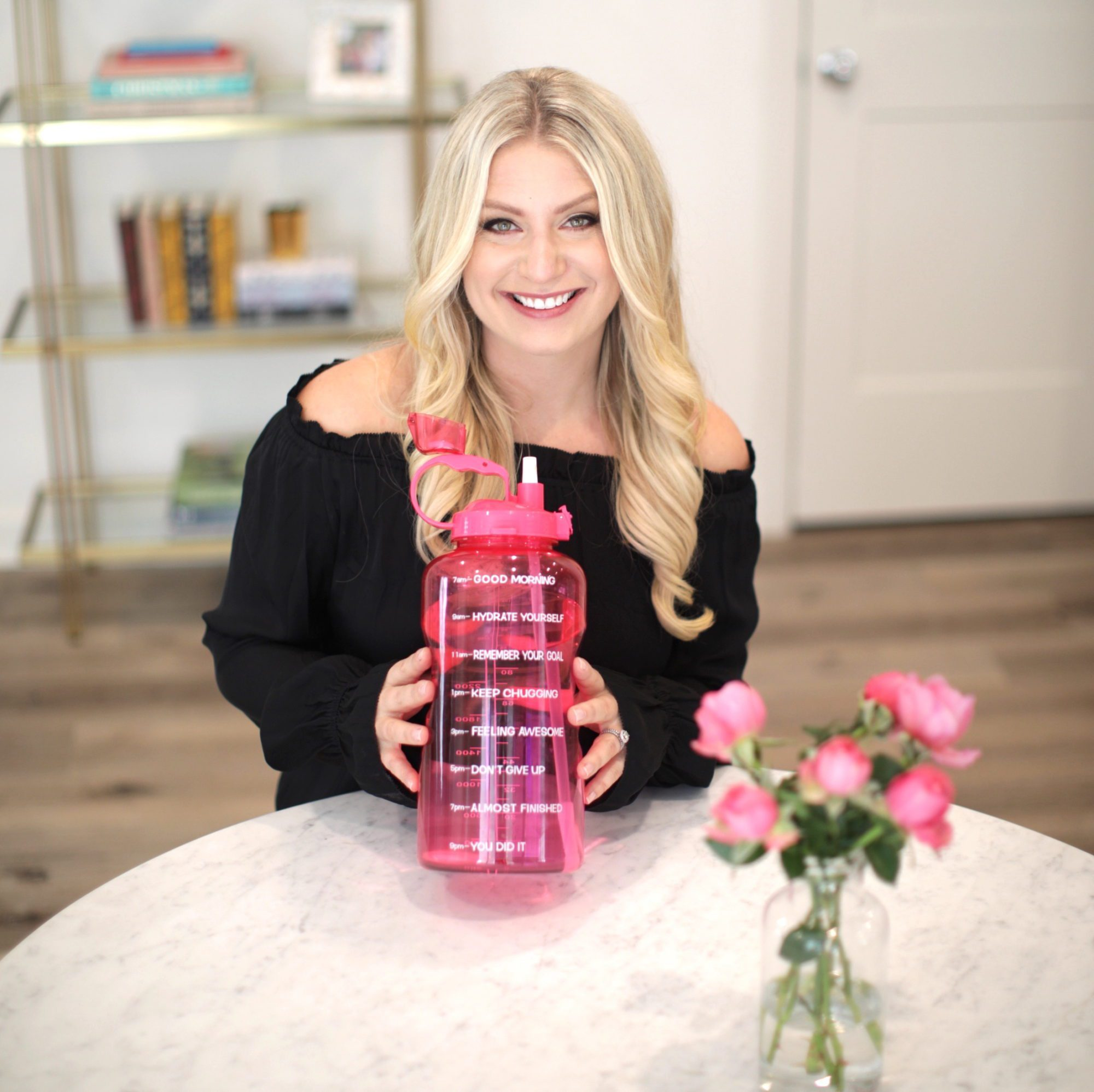 Emily Williams Holding Pink Waterbottle